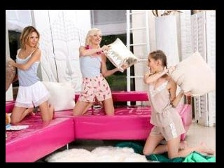 Naughty Slumber Party: Pillow Fight!
