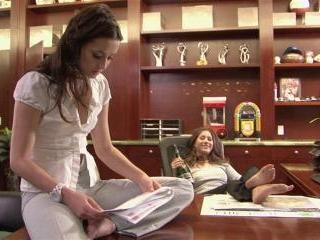 Georgia Jones and Shyla Jennings fuck on a desk