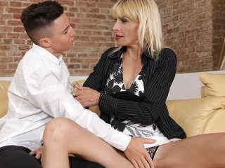 Horny housewife seducing her toyboy for sex