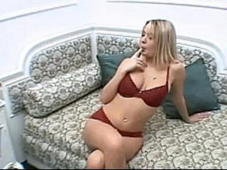 Horny sensual blonde gf in fishnet fingering pussy