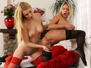 Piss Play And Dildo Fucking For Blonde Lesbian Bab