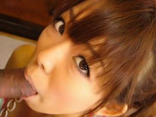 Sweet Asian cutie sucks until he cums in her mouth