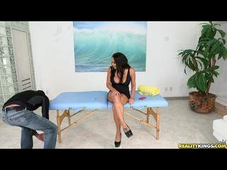 Tyler works his massage techniques on some big tit