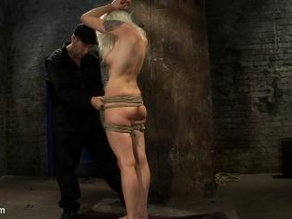Lorelei is bound on screen, brutally fucked by Isi