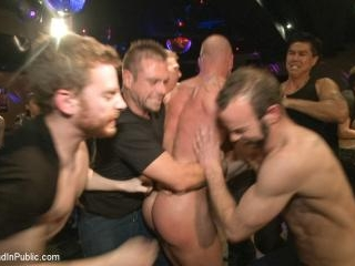 Muscled stud has had enough but the horny crowd sa
