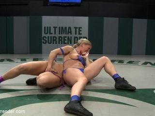 2 blond Amazons battle.Smaller girl destroys bigge