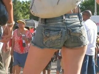 The beautiful denim shorts girls are erotically wa