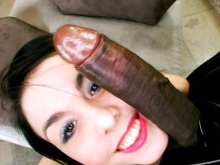 Small petite white girl takes her first big black