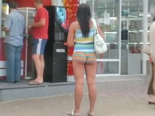 The chubby girl in really short shorts unwillingly