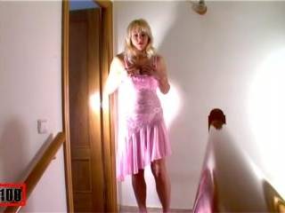 Blonde in pink dress stripping