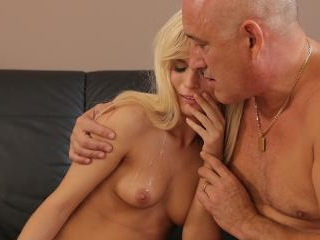Bald daddy stretches divine blonde Candee Licious