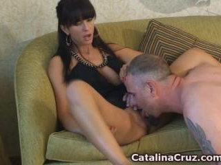 Catalina Cruz getting her pussy licked live on her