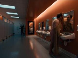 Rainn Wilson stumbles around the venue in a backwa