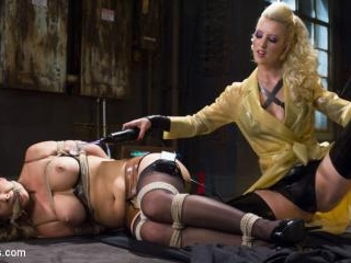 Hot Latex Lesbian Electro Sex: Cherry Torn vs. Che