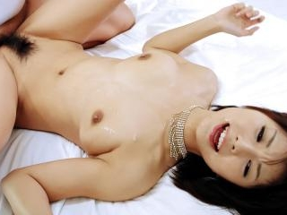 Azumi in black lingerie takes on two horny cocks a