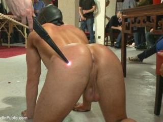 Horny crowd mercilessly gang fucks a bound hung st