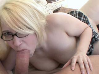 Curvy blonde schoolgirl Ranie Mae gets her pussy p