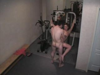 Hot lick and fuck action in the gym from security