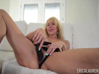 Erica Lauren Stockings and Black Dildo