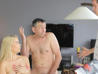 Busty chick fucked by old man next to her sleeping