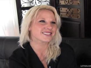 Blonde Pornstar Kimmy Olsen gets massage and a big