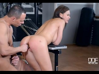 Gym Humiliation - Brunette Submissive Receives Spa