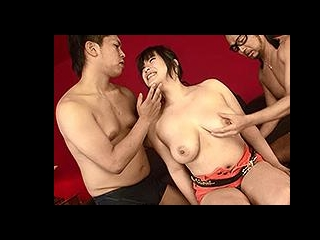 Double teaming the busty Japanese girl
