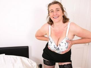 Naughty big breasted British housewife playing wit