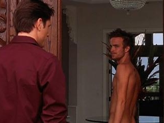 Aaron answers the door in the buff and shows his b