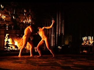 In this famous scene, Oliver and Alan strip down a
