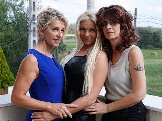 Three horny lesbian housewives go wild
