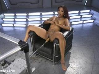 Ebony Squirt Slut Soaks Fucking Machines with Her