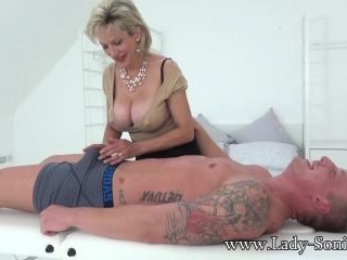 Hot Euro MILF jerks off hung stud and savors his c