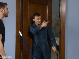 Hot janitor endures relentless edging at an airpor