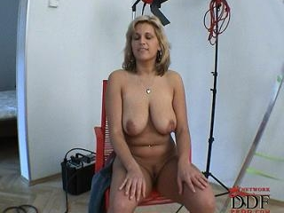 Shy girl shows her hangers!