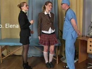 Shocked college girl passing thru a medical exam