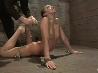 Girl next door is bound in basement, her back pull
