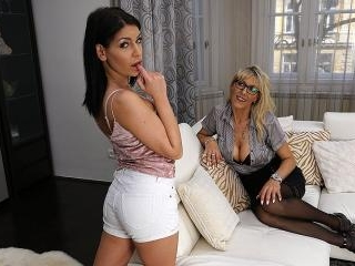 Naughty Lesbian MILF doing a hot teeny babe