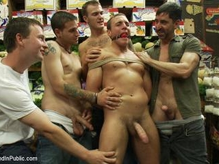 Studly shoplifter gets an eggplant up his ass and