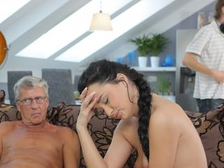 Old and young lovers have spontaneous sex behind g