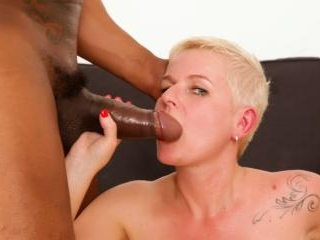 Blonde mature keeps her stockings on for fucking b