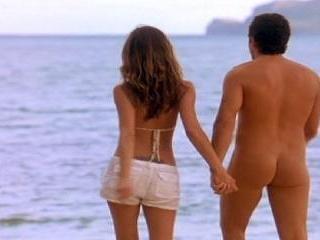 Ben shows butt as he takes a dip in the ocean. Imp