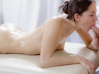XXX massage video of cute brunette screwed in the