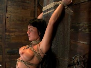 Hot sexy Hawaiian is bound to a pole, lifted to he