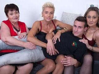 Three mature sluts share one hard cock in a fourso