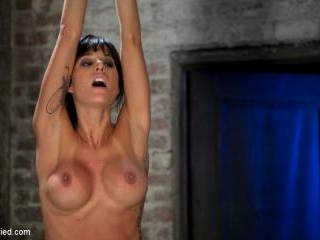 Extreme pussy torture on the wooden horse.Hard flo