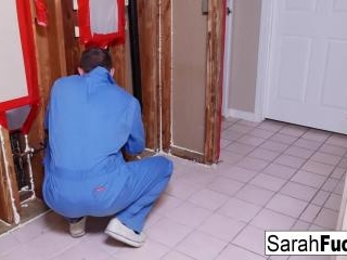 Sexy Milf Sarah pays her plumber with her tight pu