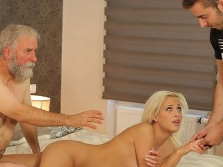 Beautiful blonde embarks morning sex with handsome