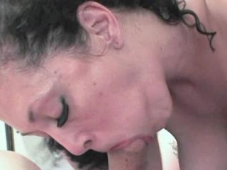 Horny housewife Peaches swallows a stiff cock and