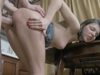 Brunette coed Madlen is in the kitchen to get her